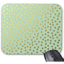 Chic Gold Polka Dots on Mint Green Mouse Pad High Quality Mouse Pad Desktop Mousepad Laptop Mousepads Comfortable Computer Mouse Mat Cute Gaming Mouse Pad