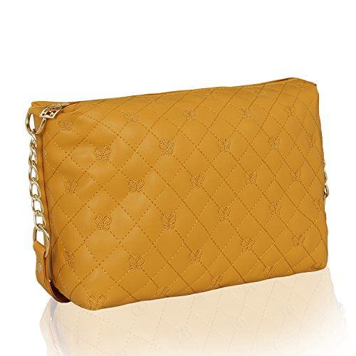 Kleio Stylish Quilted Sling Bag for Girls / Women (Mustard) (EDK1038KL-MU)