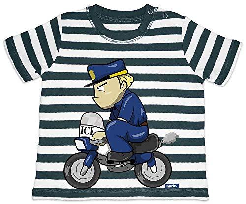 Cop Kostüm Baby - HARIZ Baby T-Shirt Streifen Polizist Lustig Motorrad Polizei Cops Inkl. Geschenk Karte Navy Blau/Washed Weiß 18-24 Monate