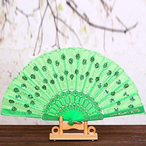 Peacock Print Seide (WANGYUJIN Faltfächer Folding Fan Summer Women Girl Dancing Fan Elegant Plum Peacock Flower Print Folding Hand Fans Green)