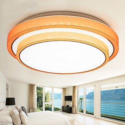 ZHAS Europäische LED Acryl Schlafzimmer runde Deckenleuchte (Farbe: Orange 50 cm/40 W)