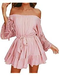 cb43cfbd9c48 Yvelands Sommerkleider Damen Blumen Maxi Kleid Off Shoulder Abendkleid  Strandkleid Party Schulter Kleider