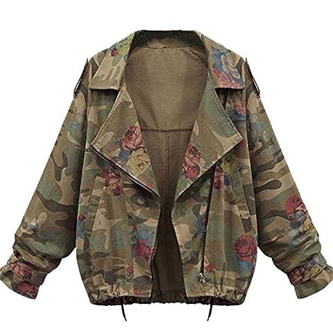 Minetom Femmes Militaire Imprime Camouflage Blouson Mode Manches Longues Jacket Ladies Casual Vestes Manteau (FR 46, Vert)