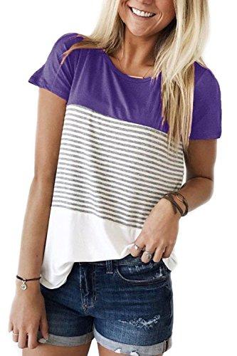 d4a783cdd76b41 Damen Farbblock T-Shirt mit Gestreift Tunika Oberteile Bluse Hemd Lila XXL