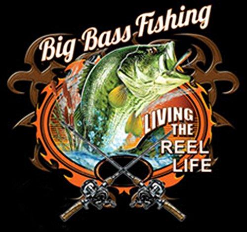 Angler T-Shirt lustiger Angel Zubehör T-Shirt: Big Bass Fishing - Geschenk Geburtstag Weihnachten Papa Mitbringsel Schwarz