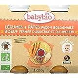 Babybio Pots Légumes/Pâtes Façon Bolognaise au Bœuf Fermier d'Aquitaine/du Limousin Bio 2x200 g - Lot de 6
