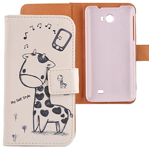 Lankashi PU Flip Leder Tasche Hülle Case Cover Schutz Handy Etui Skin Für Kazam Trooper 2 5.0 Giraffe Design