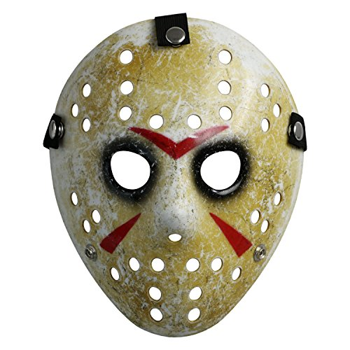 LANDISUN KOSTÜM PROP HORROR HOCKEY MASK JASON VS. FREDDY Freitag der 13te HALLOWEEN MYERS (Adult Size, Gelb)