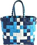 normani Einkaufskorb Shopper geflochten aus Kunststoff - robuster Strandkorb aus wasserabweisendem Material Farbe Classic/Aqua