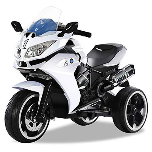 Lihgfw Bambini del Motociclo Elettrico, Elettrico Triciclo Bambino Grande Toy Car Passeggino Ricarica può Sedere Persone Adatto for 3-9 Anni Ragazzi e Ragazze (Color : Bianca)