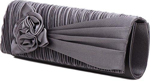 VINCENT PEREZ, Abendtaschen, Clutch, Umhängetaschen, Unterarmtaschen, Satin, Raffung, Blumen-Applikation, 25,5x9,5x4,5cm (B x H x T) Dunkelgrau