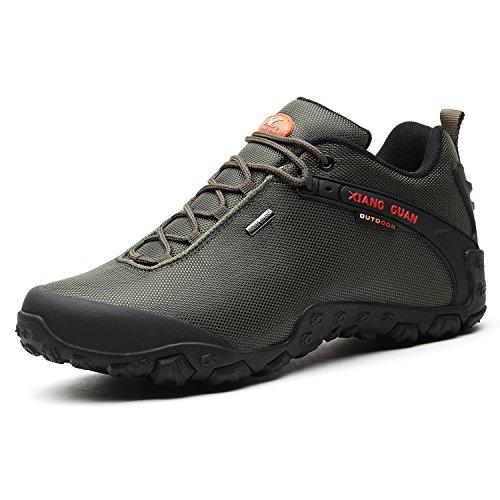 XIANG GUAN Herren Outdoor Wasserabweisende Trekking Schuhe Wanderschuhe atmungsaktiv bequem 81283 Grün 44