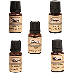 Pure Source India Essential Oil Aroma Oil 5 In One Pack (Lemon Grass, Lavender, Jasmine, Rose, Sandal Wood 10 ML Each.