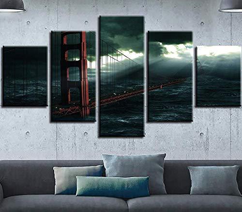 Cinq peintures consécutives Peinture décorative Cinq Même Paysage Paysage marin Jet d\'encre Pont Tour Mode