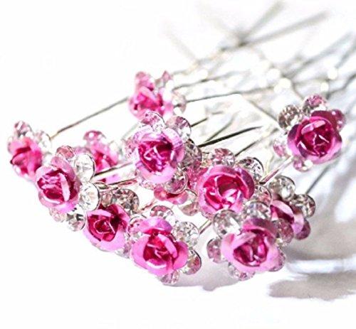 Accessoires cheveux coiffure mariage 1 lot de 10 épingles à chignon fleurs à strass roses