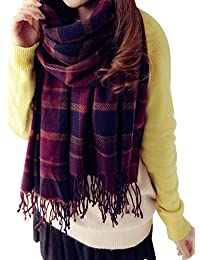 ISASSY Women's Ladies Vintage Wraps scarf scarves Elegant Tartan Plaid scarf Shawl