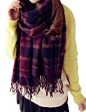 ISASSY Women's Ladies Vintage Wraps scarf scarves Elegant Tartan Plaid scarf Shawl?Purple
