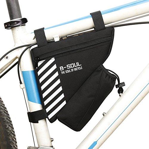 Moresave Dreieck Fahrradtaschen Front Radfahren Rahmentasche mit Wasser Flaschenhalter für Mountain Bike, Schwarz