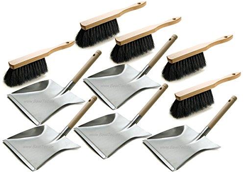 BawiTec 5 Stück Kehrgarnitur weich schwarz Besen-Garnitur Set und Handfeger Metall-Kehrschaufel Kehrset verzinkt