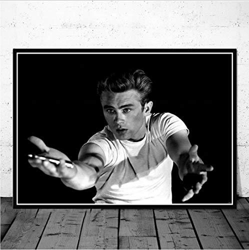 Poster Und Drucke Kunst Malerei Jame Dean Rauch Zigaretten Filmstar Schauspieler Schwarz Weiß Wandbilder Für Wohnzimmer Wohnkultur 40X60 cm Ohne Rahmen -