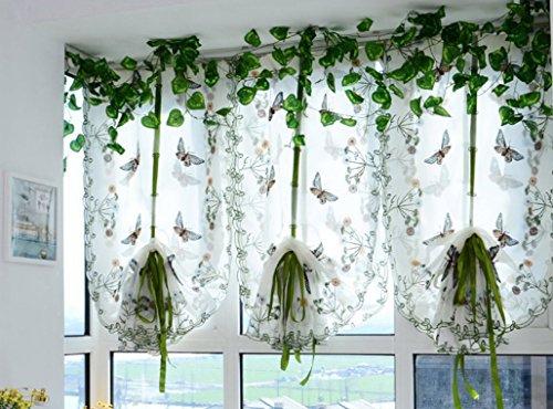 Omeny ricamo stile country farfalla tenda per la decorazione domestica (80*200cm)