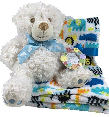 Baby Safe my first Teddy Bär, Zoo Animal Fleece Decke, Button Bilderrahmen–Baby Dusche, Baby Geschenk für Jungen