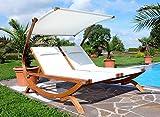 Doppel - Sonnenliege TULUM extrabreit für 2 Personen mit verstellbarem Dach aus Holz Lärche von AS-S