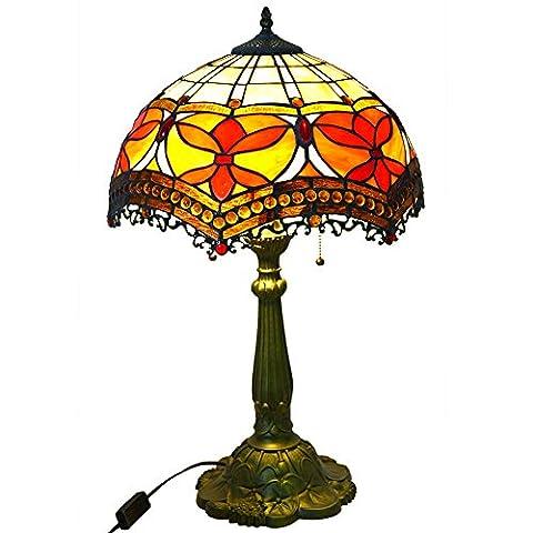 Elegante Tischlampe Glasmalerei Schatten und gemeißeltes Harz Basis Nuomeiju® NMJ059