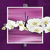 Artland Analoge Wand-Funk-oder Quarz-Uhr Digital-Druck Leinwand auf Holz-Rahmen gespannt mit Motiv W. L. Orchideen - violett Botanik Blumen Orchidee Digitale Kunst Lila A6UK