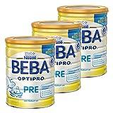 Nestlé BEBA Optipro Pre, Säugling Milch, Babynahrung, Anfangsmilch von Geburt an, Glutenfrei, Dose, 3 x 800 g, 12341139