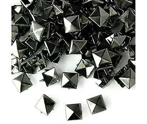 Quadratisch Ohrstecker Nieten in Gun Metal/schwarz für Leder Kleidung Taschen Jeans Craft-Spike Punk Pyramid Nieten für Verzierung, Gun Metal / Black, 12 mm