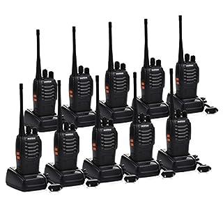 Funkprofi Walkie Talkie, Baofeng BF-888S Wireless Professionelle Funkgeräte Set 16 Kanäle Reichweite 5 km Hand-Funkgerät CTCSS/DCS Rauschsperre 400-470 MHz mit Desktop Ladegerät (mit Kopfhörer)