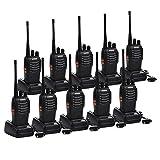 Funkprofi Walkie Talkie, Baofeng BS-888S Wireless Professionelle Funkgeräte Set 16 Kanäle Reichweite 5 km Hand-Funkgerät CTCSS/Dcs Rauschsperre 400-470 MHz mit Desktop Ladegerät (mit Kopfhörer)