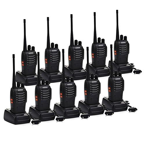 lkie Talkie Set, Funkgeräte 16 Kanäle Reichweite 5 km Wireless Professionelle Hand-Funkgerät Dual Band Radio CTCSS/DCS Rauschsperre 400-470 MHz 2 Stück Set 10 Stück (mit Headset) ()