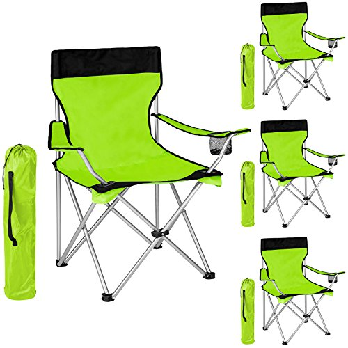 TecTake 4x Silla de camping plegable negro verde + Portabebidas + Práctica bolsa de transporte