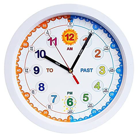 Aniclock Time Teacher Children Wall Clock, Easy to Read clock with Silent movement. Teach children how to read an analogue clock with this perfect gift, 29cm