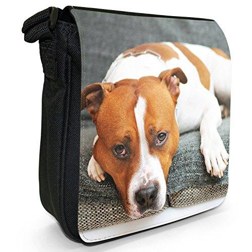 Staffordshire Bull Terrier Staffy personale Dog-Borsa a tracolla in tela, piccola, colore: nero, taglia: S Puppy Eyes Brown & White Dog