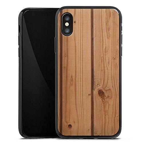 Apple iPhone X Silikon Hülle Case Schutzhülle Holz Look Planken Holzboden Silikon Case schwarz