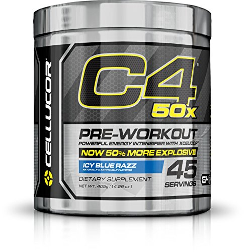 Cellucor C4 50x Pre Workout Powder, Extreme Energy, Icy Blue Razz 45 Servings (405g)