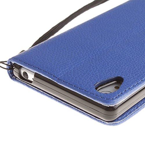 Dragonne Coque de Protection Portefeuille pour Apple iPhone 5 SE - Aohro Elegant Flip Folio Housse Etui en PU Cuir Case Cover avec Porte-cartes, Fermeture Magnétique + Stylus Pen + Dust Plug - Orange Bleu