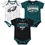 Philadelphia Eagles NFL 'Playmaker' Newborn 3 Pack Bodysuit Creeper Set