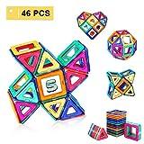Shinehalo 46PCS Magnetische Bausteine für Kinder Kreativität Kleinkind Lernspielzeug DIY Block Modell Spielzeug für Kinder.