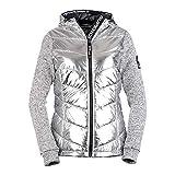 Superdry Damen Zipper Storm HYBRID METALLIC Ziphood Silver Shine Silver Gritty, Größe:L