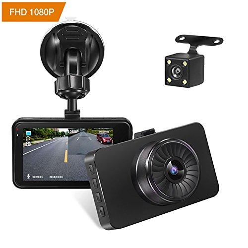 Autokamera Dashcam YIYU-Tc FHD 1080P Mini Auto Video Recorder AutoKamera mit Dual-Lens 170 ° Grad Weitwinkel Nachtsicht, G-Sensor, Bewegungserkennung, Parkplatz Monitor, Loop Recorder, WDR, Zwei Bilder Display Dashcam