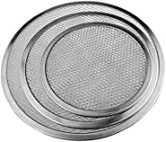 KMjungu Aluminum Thicken Non-stick Net Round Pizza Mesh Pan Baking Tray Camping Picnic BBQ Grill Kitchen Gadge