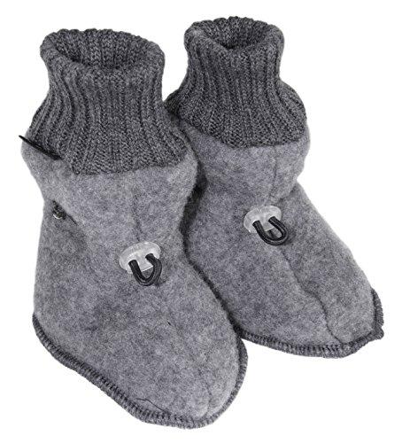 Mikk-Line Baby - Jungen Baby Schuhe Fleece Wool, Einfarbig Grau (Melange grey 916)