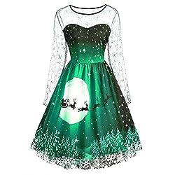 VEMOW Weihnachtsfeier Elegantes Kleid Damen Spitze Kurzarm Weihnachten Schnee Druck Lässig Täglich Einzigartiges Design Vintage Swing Kleid(A1-Grün, 42 DE/XL CN)