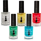 Olio per unghie in una bottiglia di pennello Set N°1, Peach, Lemon, Cherry, Fruits, Coconut 5x10ml