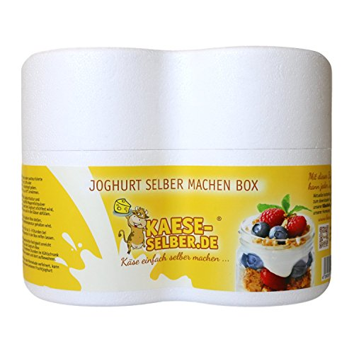 Joghurtbox Joghurtbereiter ohne Strom 2x 0,5 Liter Glas, Joghurt selber machen (Strom Machen)