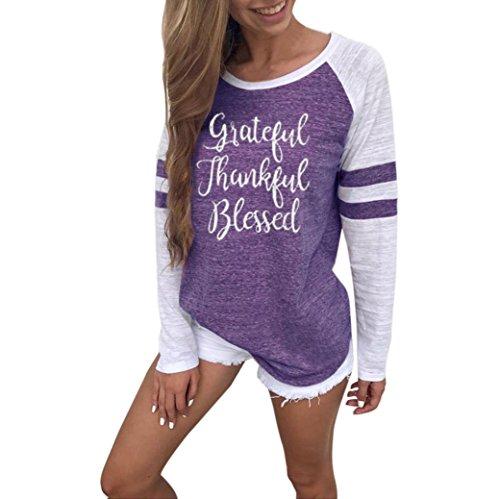 Erwachsene Langarm Rollkragen Body (OVERDOSE Mokingtop Damen Floral Splice Printing Rundhals Pullover Bluse Tops T-Shirt (S, C-B-Purple))